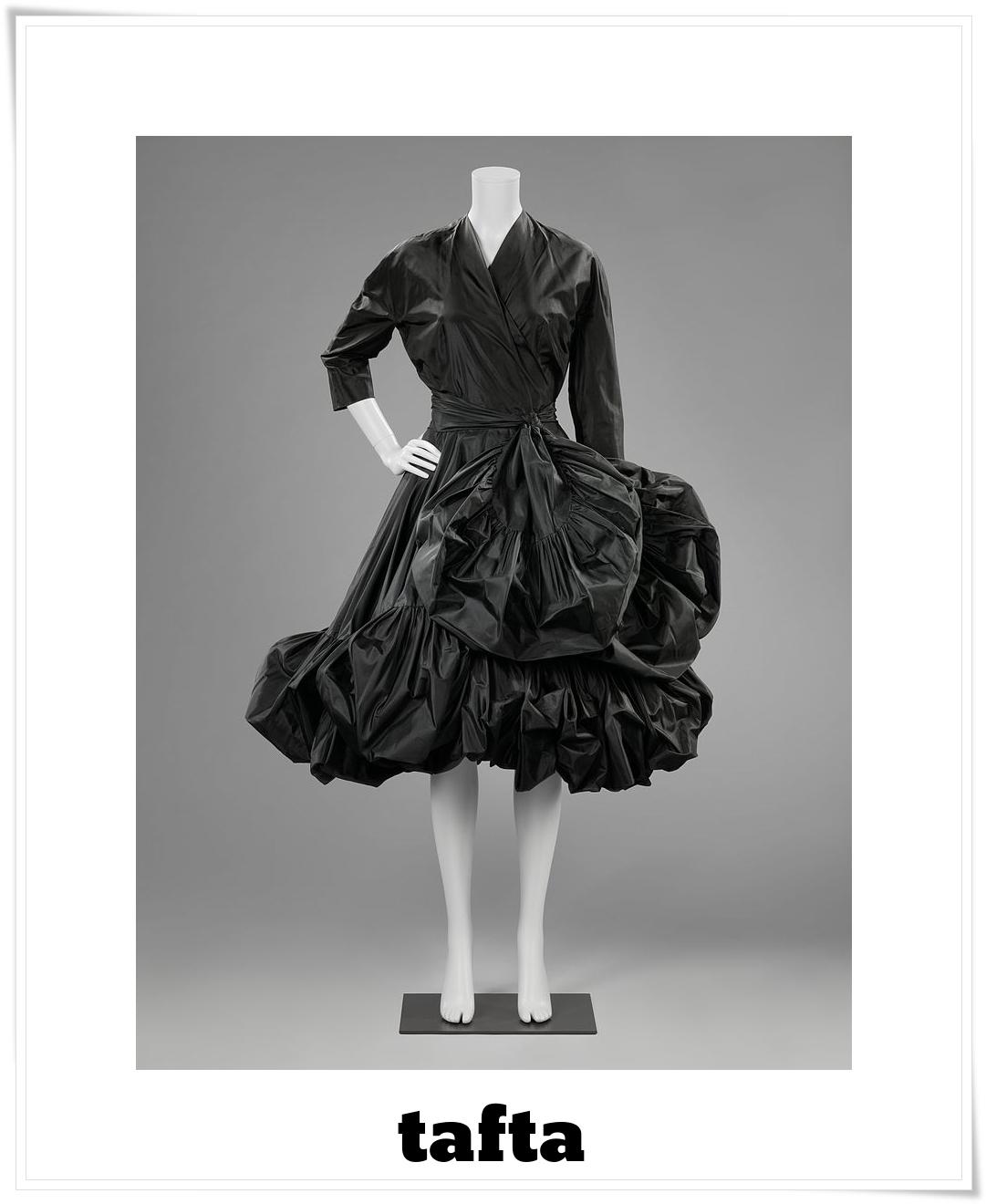 tafta - koktajlowa suknia z początku lat 50.