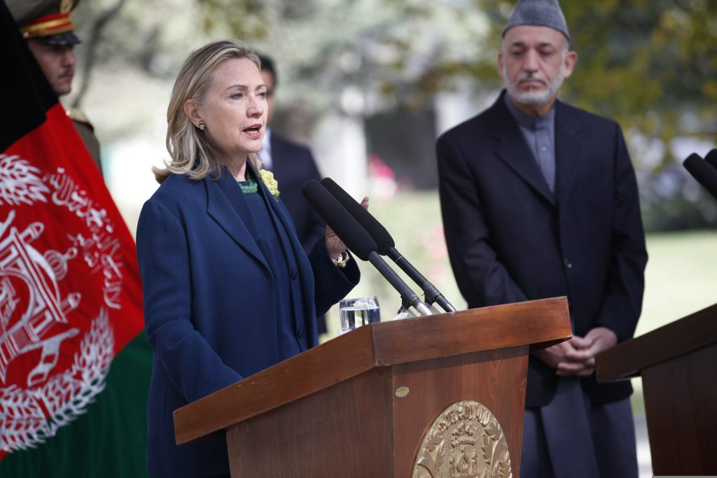 U.S. Secretary of State Hillary Rodham Clinton, left, and Afghan President Hamid Karzai, right, hold a press conference at the Presidential Palace in Kabul, Afghanistan, Oct. 20, 2011. (U.S. Department of State photo by S.K. Vemmer/Released)